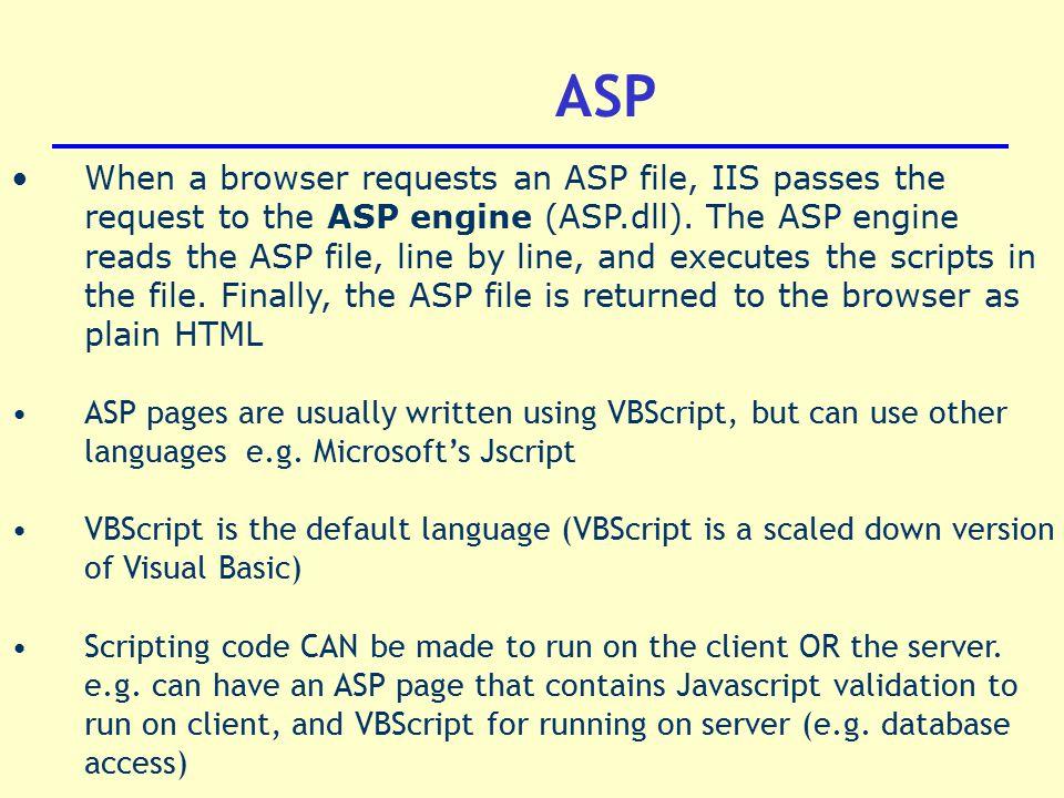 DT211/3 Internet Application Development Active Server Pages & IIS