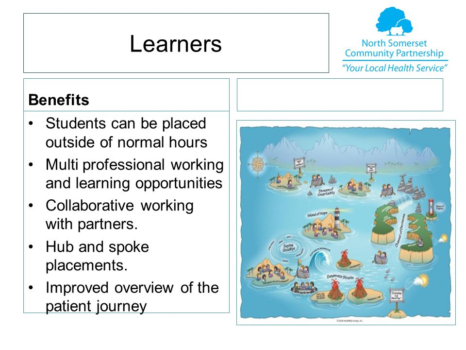 Learners Benefits Students can be placed outside of normal hours Multi professional working and learning opportunities Collaborative working with partners.