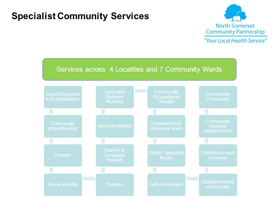 Rapid Response & Rehabilitation Community physiotherapy PodiatryTissue viabilityDietetics Speech & Language Therapy Musculoskeletal Specialist Diabetes Nursing Community Occupational Therapy Disabled Adult Resource Team Stroke Specialist Nurse Falls Prevention Gastrointestinal endoscopy Continence and Enuresis Community Hospital inpatient beds Community Pulmonary Specialist Community Services Services across 4 Localities and 7 Community Wards