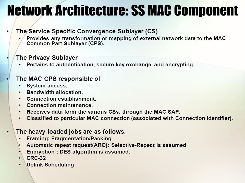 Network Architecture: SS MAC Component The Service Specific Convergence Sublayer (CS) Provides any transformation or mapping of external network data to the MAC Common Part Sublayer (CPS).