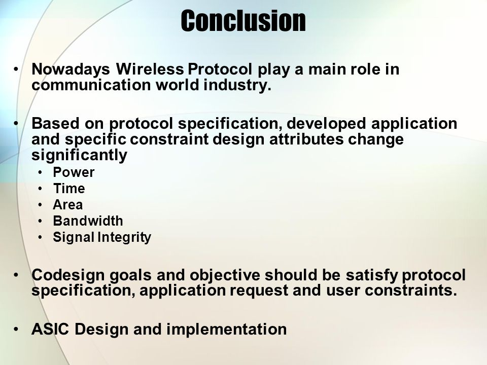 Conclusion Nowadays Wireless Protocol play a main role in communication world industry.
