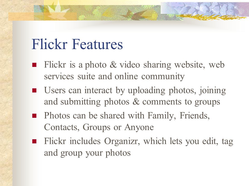 Social Network Services Twitter, Facebook and Flickr  - ppt