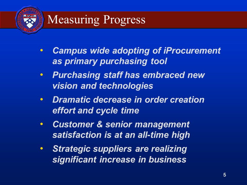 5 Measuring Progress Campus wide adopting of iProcurement as primary purchasing tool Purchasing staff has embraced new vision and technologies Dramatic decrease in order creation effort and cycle time Customer & senior management satisfaction is at an all-time high Strategic suppliers are realizing significant increase in business
