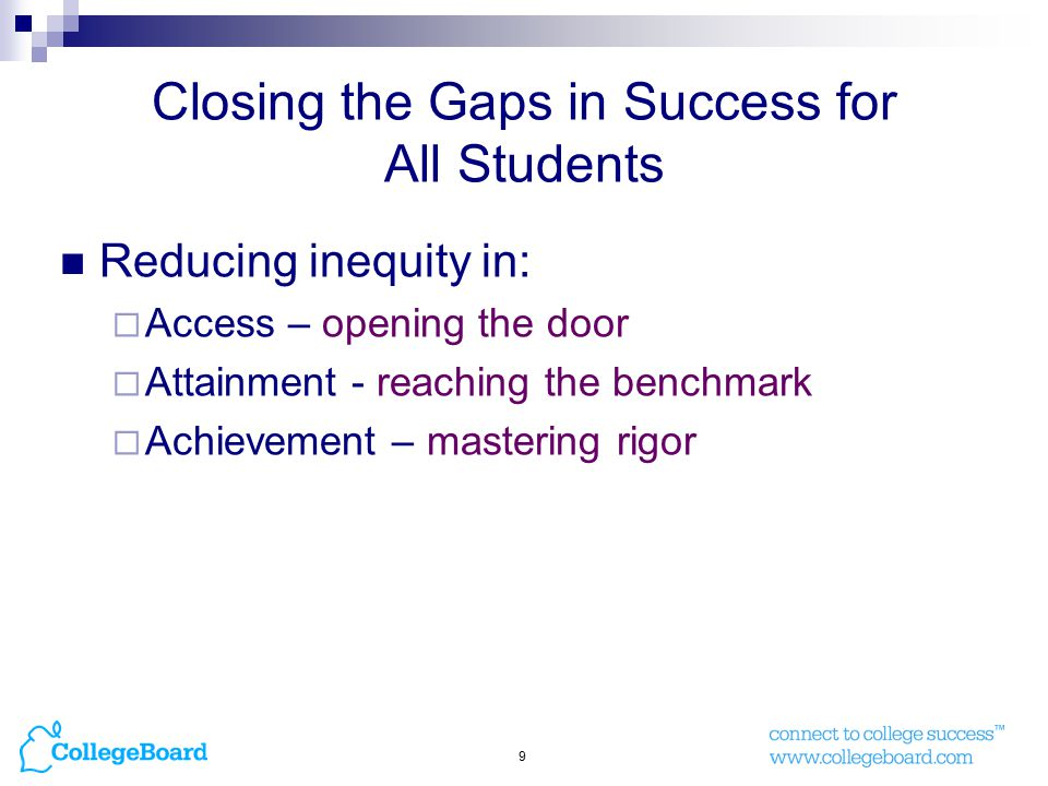 9 Closing the Gaps in Success for All Students Reducing inequity in:  Access – opening the door  Attainment - reaching the benchmark  Achievement – mastering rigor