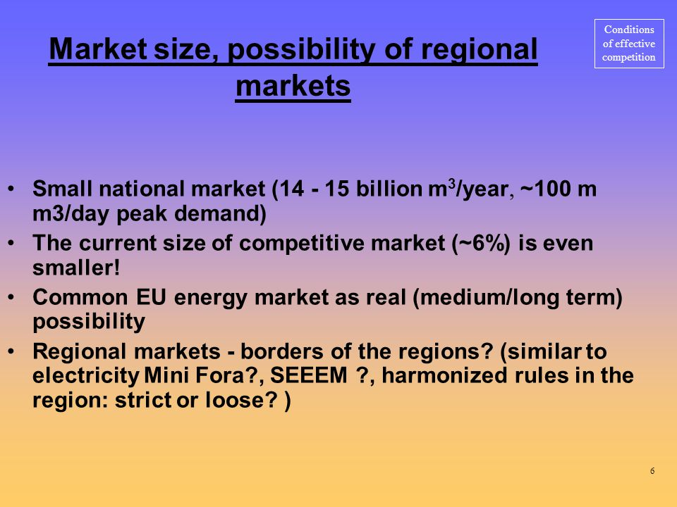 Market size, possibility of regional markets Small national market ( billion m 3 /year, ~100 m m3/day peak demand) The current size of competitive market (~6%) is even smaller.