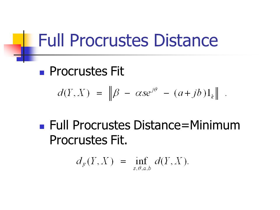Full Procrustes Distance Procrustes Fit Full Procrustes Distance=Minimum Procrustes Fit.
