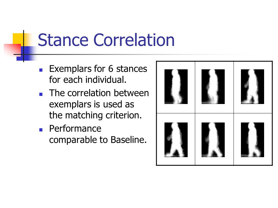 Stance Correlation Exemplars for 6 stances for each individual.