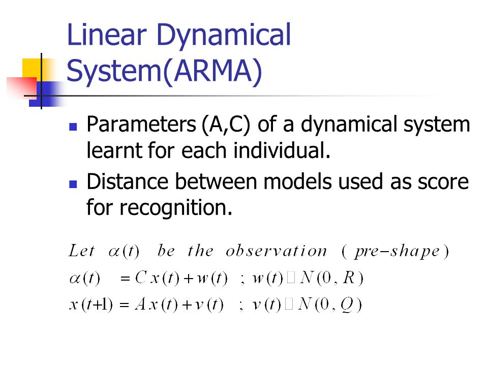 Linear Dynamical System(ARMA) Parameters (A,C) of a dynamical system learnt for each individual.