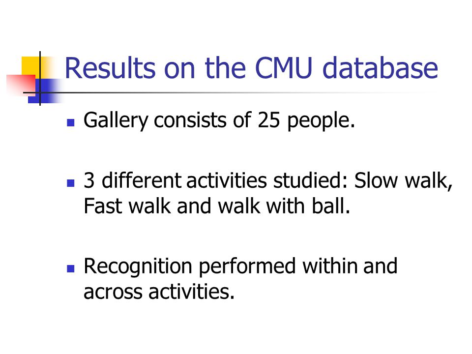 Results on the CMU database Gallery consists of 25 people.