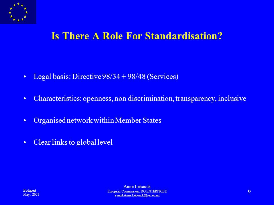 Budapest May, 2001 Anne Lehouck European Commission, DG ENTERPRISE 9 Is There A Role For Standardisation.