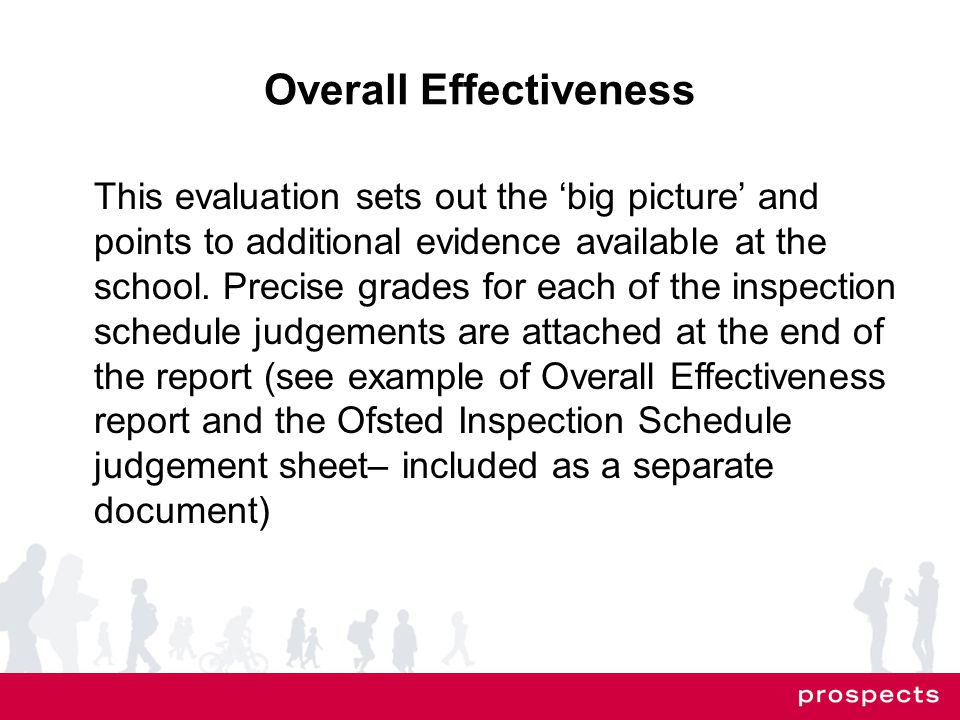 Overall Effectiveness This evaluation sets out the 'big picture' and points to additional evidence available at the school.