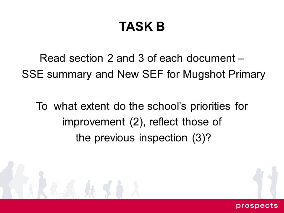 TASK B Read section 2 and 3 of each document – SSE summary and New SEF for Mugshot Primary To what extent do the school's priorities for improvement (2), reflect those of the previous inspection (3)