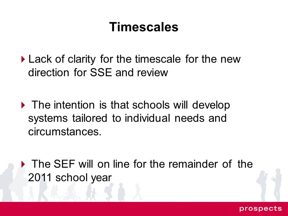 Timescales  Lack of clarity for the timescale for the new direction for SSE and review  The intention is that schools will develop systems tailored to individual needs and circumstances.