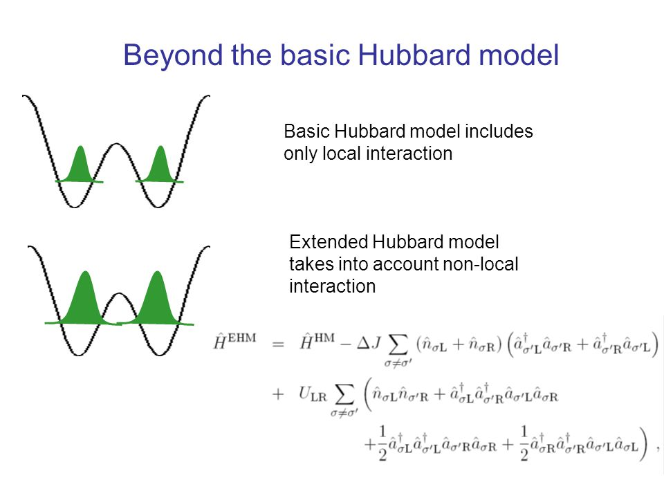 Basic Hubbard model includes only local interaction Extended Hubbard model takes into account non-local interaction Beyond the basic Hubbard model