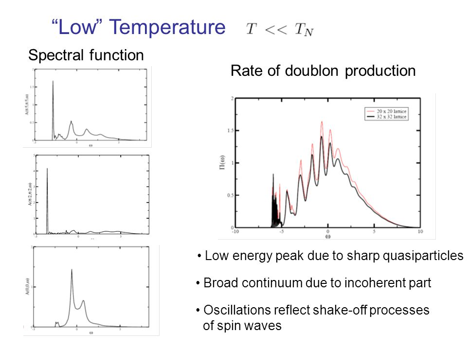 Low Temperature Rate of doublon production Spectral function Low energy peak due to sharp quasiparticles Broad continuum due to incoherent part Oscillations reflect shake-off processes of spin waves