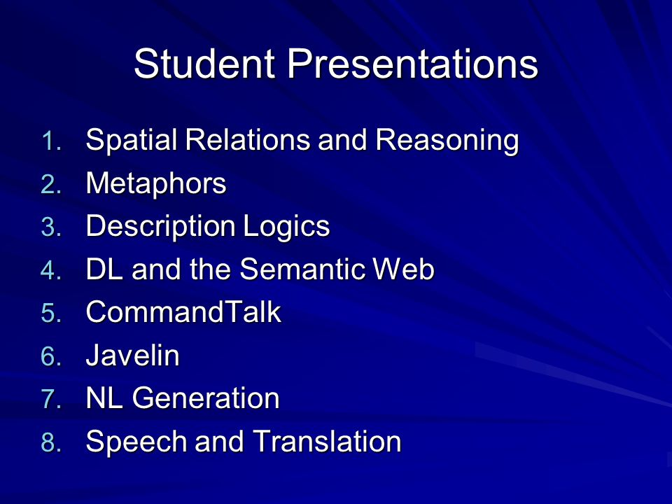 Student Presentations 1. Spatial Relations and Reasoning 2.