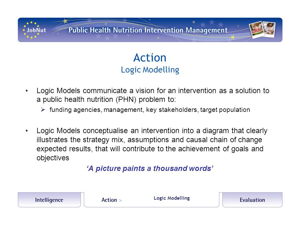 Action Logic Modelling Logic Models communicate a vision for an intervention as a solution to a public health nutrition (PHN) problem to:  funding agencies, management, key stakeholders, target population Logic Models conceptualise an intervention into a diagram that clearly illustrates the strategy mix, assumptions and causal chain of change expected results, that will contribute to the achievement of goals and objectives 'A picture paints a thousand words'