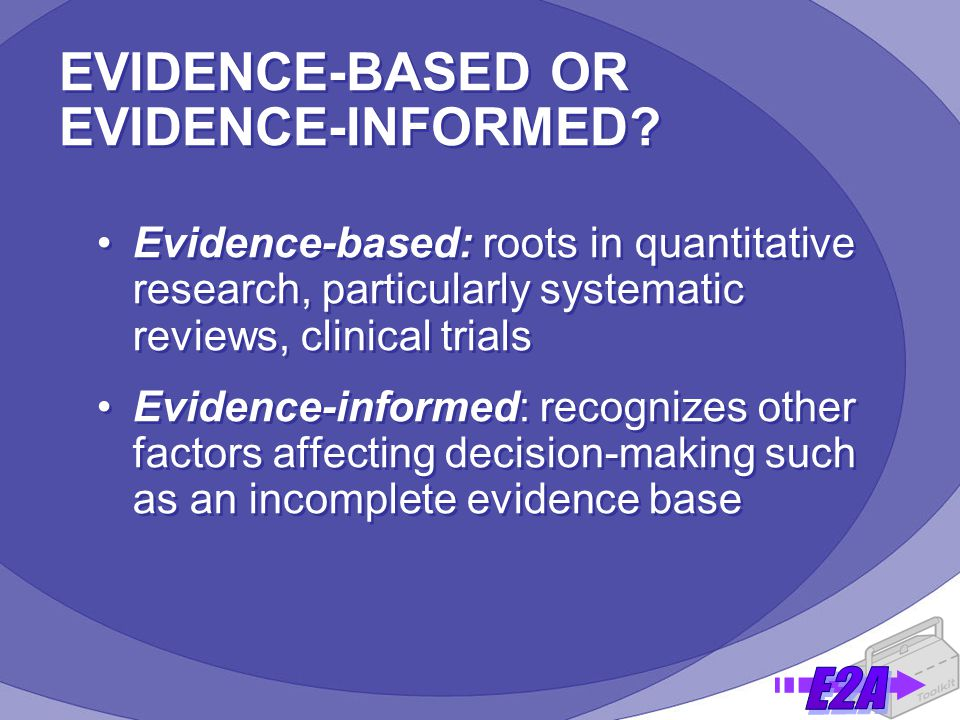 EVIDENCE-BASED OR EVIDENCE-INFORMED.