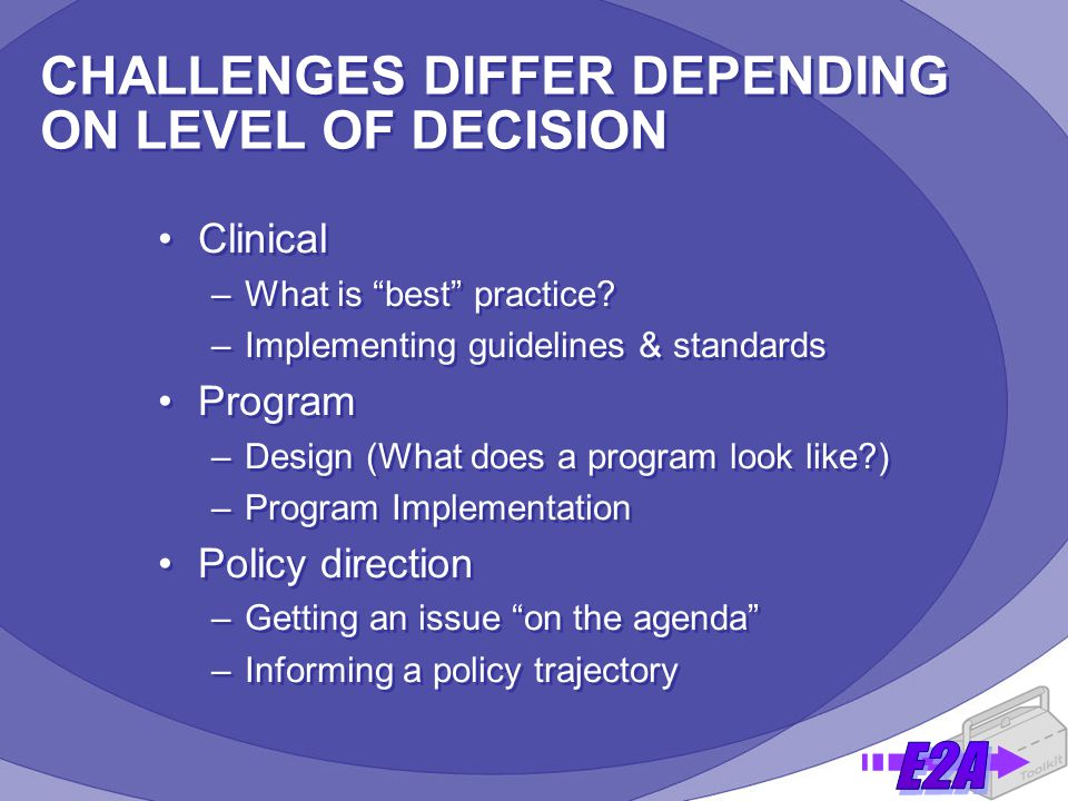 CHALLENGES DIFFER DEPENDING ON LEVEL OF DECISION Clinical –What is best practice.