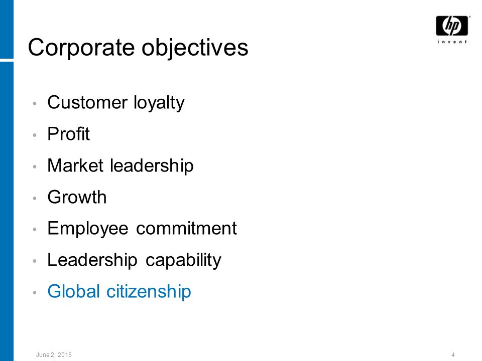 June 2, Corporate objectives Customer loyalty Profit Market leadership Growth Employee commitment Leadership capability Global citizenship