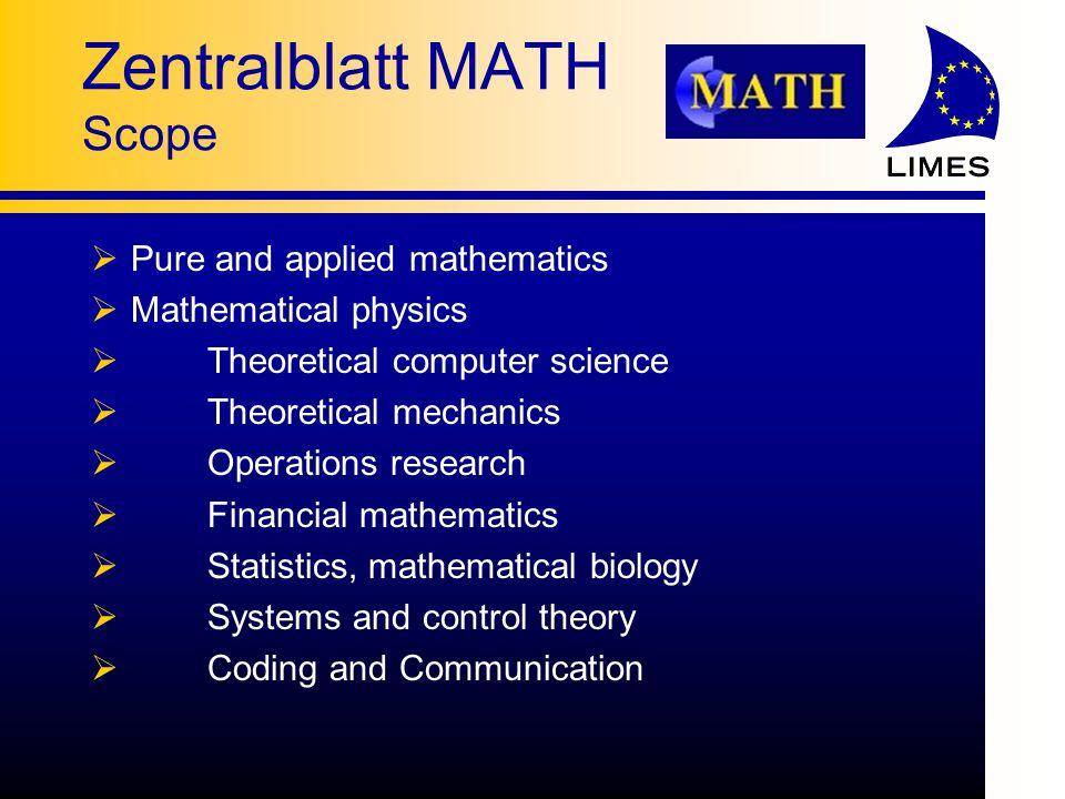 Zentralblatt MATH Searching for Mathematics with