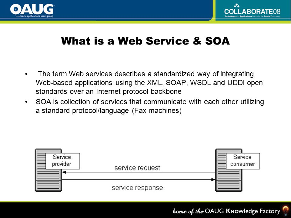 What is a Web Service & SOA The term Web services describes a standardized way of integrating Web-based applications using the XML, SOAP, WSDL and UDDI open standards over an Internet protocol backbone SOA is collection of services that communicate with each other utilizing a standard protocol/language (Fax machines)