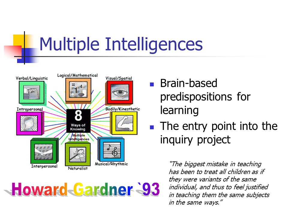 Multiple Intelligences Brain-based predispositions for learning The entry point into the inquiry project The biggest mistake in teaching has been to treat all children as if they were variants of the same individual, and thus to feel justified in teaching them the same subjects in the same ways.