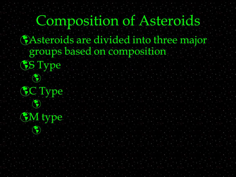 Composition of Asteroids  Asteroids are divided into three major groups based on composition  S Type   C Type   M type 