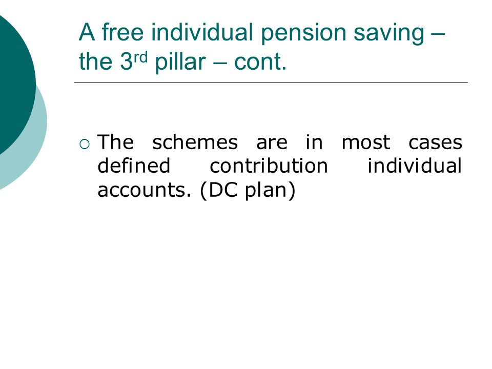 A free individual pension saving – the 3 rd pillar – cont.