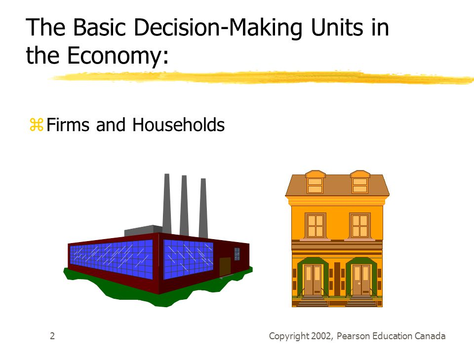 Copyright 2002, Pearson Education Canada2 The Basic Decision-Making Units in the Economy: zFirms and Households