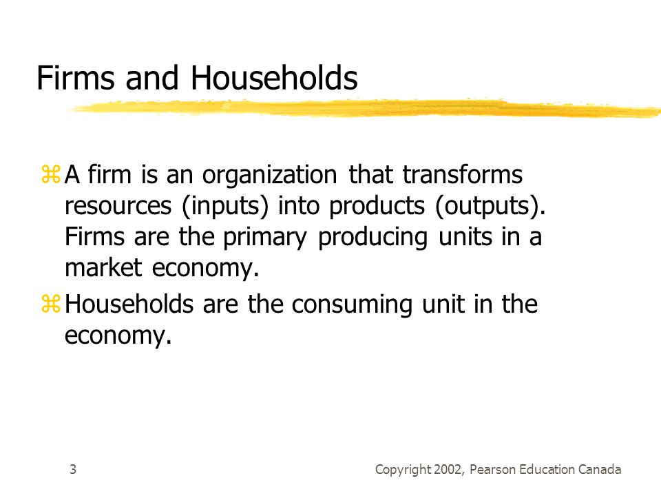 Copyright 2002, Pearson Education Canada3 Firms and Households zA firm is an organization that transforms resources (inputs) into products (outputs).