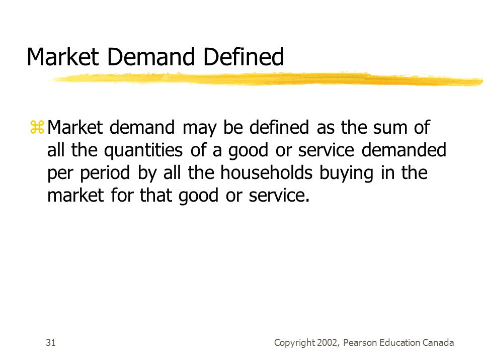 Copyright 2002, Pearson Education Canada31 Market Demand Defined zMarket demand may be defined as the sum of all the quantities of a good or service demanded per period by all the households buying in the market for that good or service.