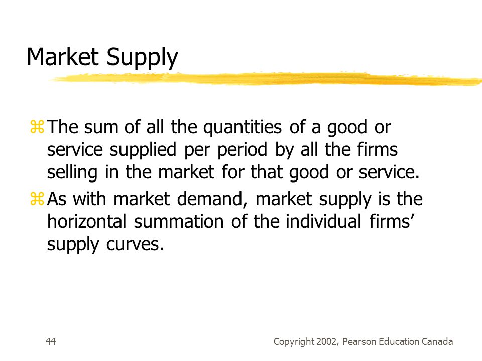 Copyright 2002, Pearson Education Canada44 Market Supply zThe sum of all the quantities of a good or service supplied per period by all the firms selling in the market for that good or service.