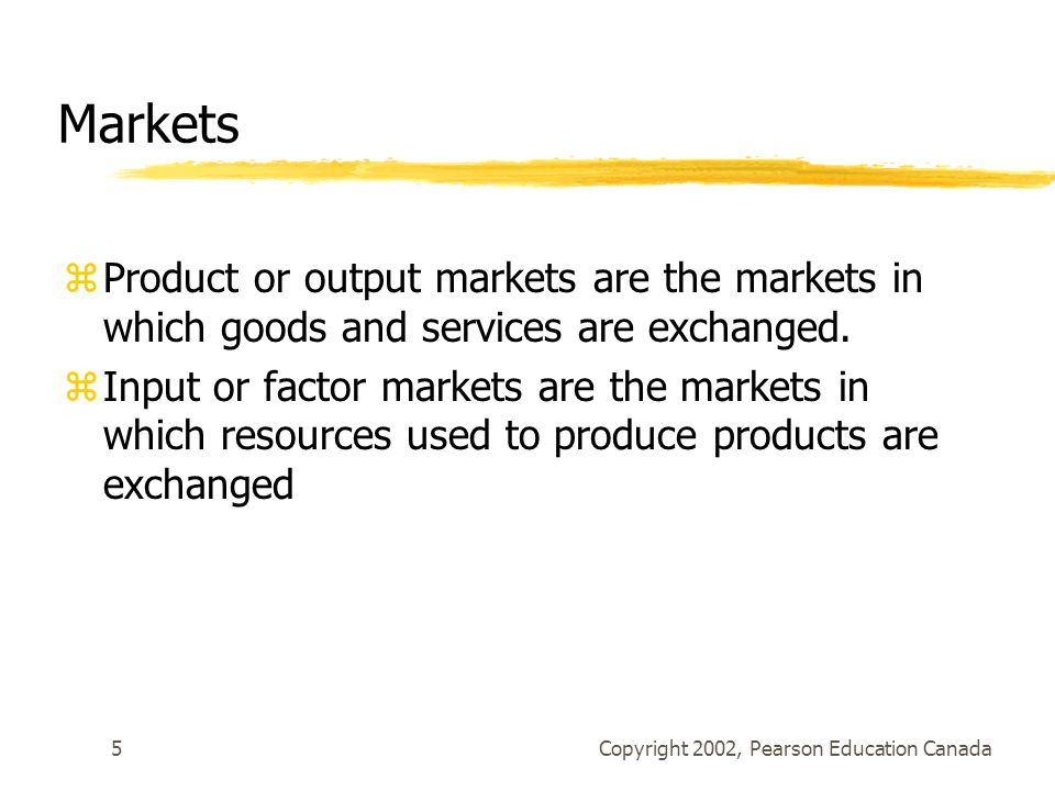 Copyright 2002, Pearson Education Canada5 Markets zProduct or output markets are the markets in which goods and services are exchanged.