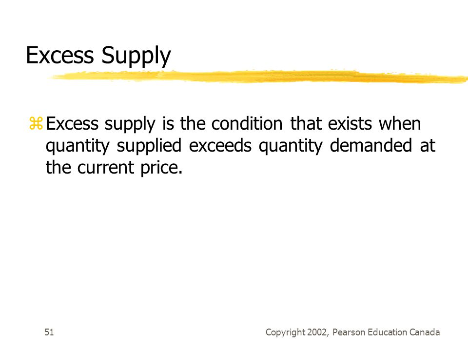 Copyright 2002, Pearson Education Canada51 Excess Supply zExcess supply is the condition that exists when quantity supplied exceeds quantity demanded at the current price.