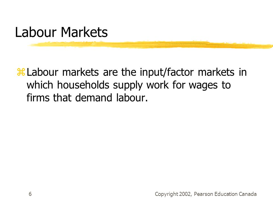 Copyright 2002, Pearson Education Canada6 Labour Markets zLabour markets are the input/factor markets in which households supply work for wages to firms that demand labour.