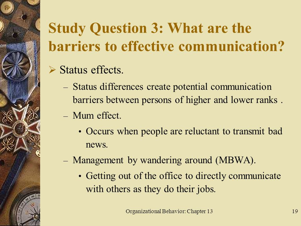 Organizational Behavior: Chapter 1319 Study Question 3: What are the barriers to effective communication.