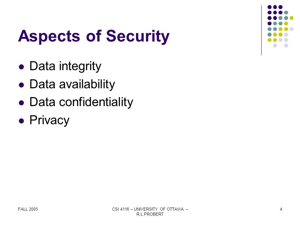 FALL 2005CSI 4118 – UNIVERSITY OF OTTAWA – R.L.PROBERT 4 Aspects of Security Data integrity Data availability Data confidentiality Privacy