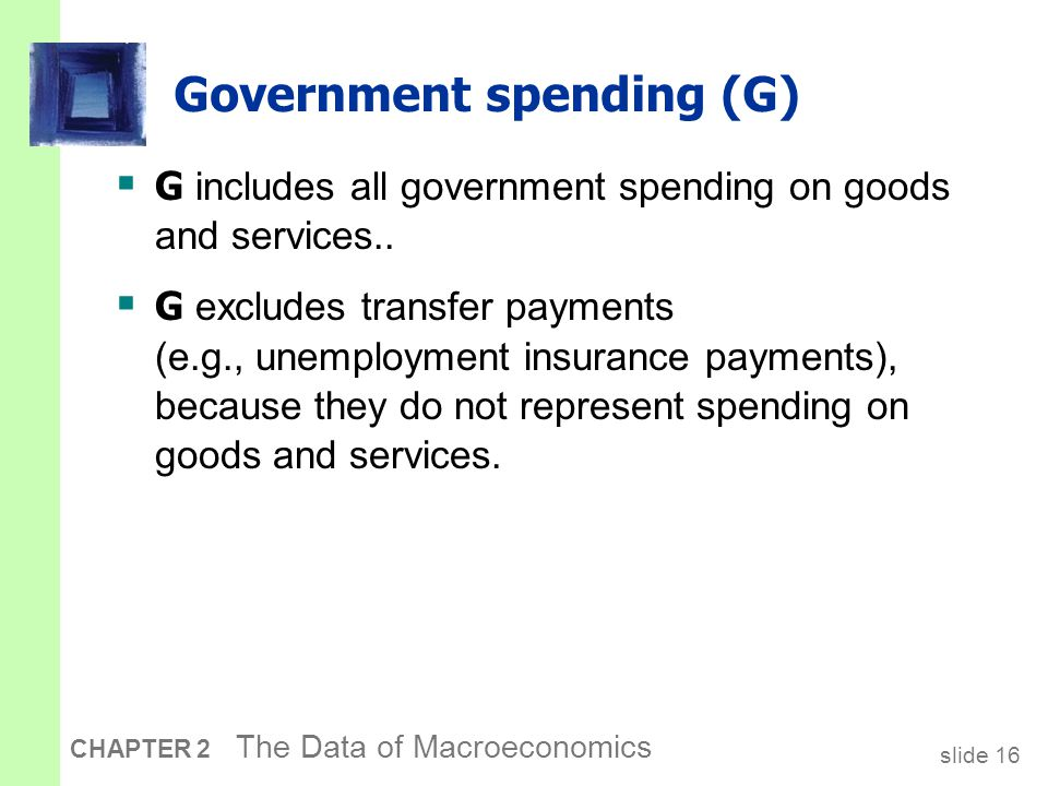 slide 16 CHAPTER 2 The Data of Macroeconomics Government spending (G)  G includes all government spending on goods and services..