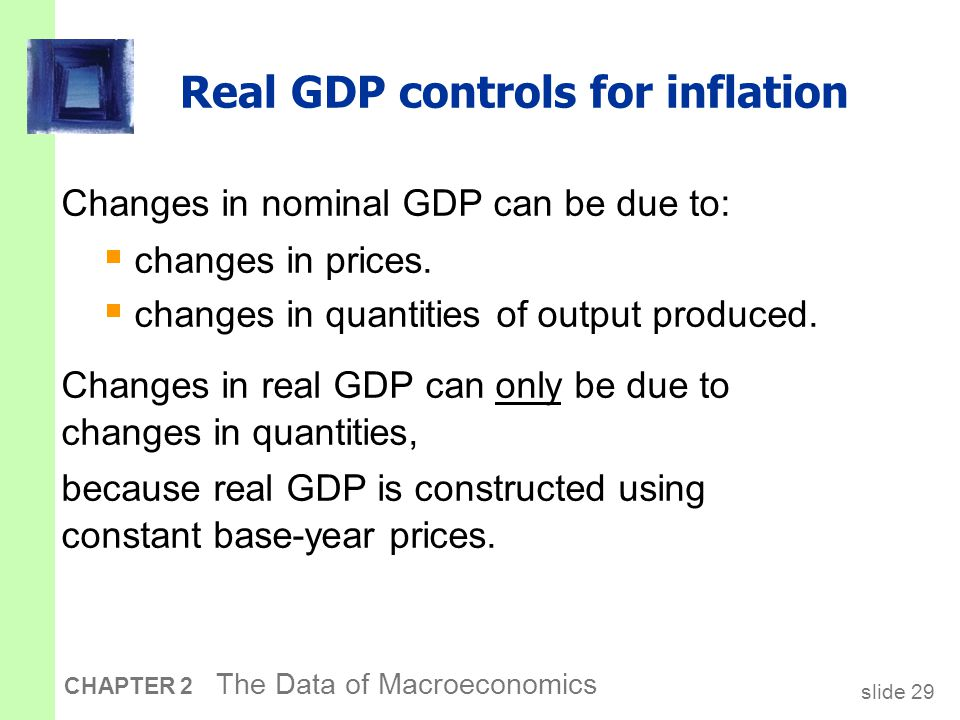 slide 29 CHAPTER 2 The Data of Macroeconomics Real GDP controls for inflation Changes in nominal GDP can be due to:  changes in prices.