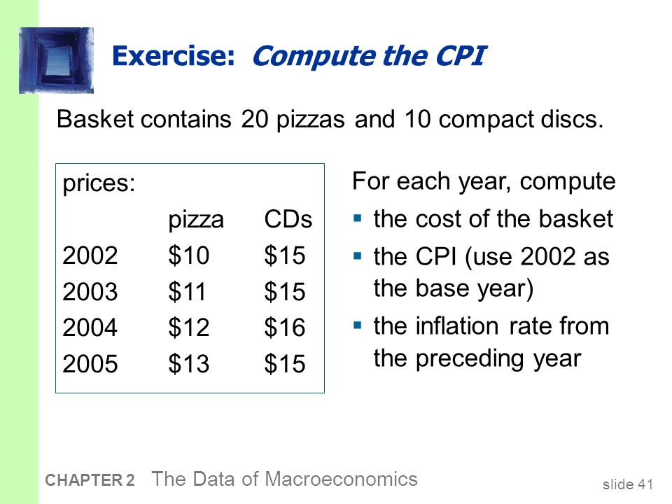slide 41 CHAPTER 2 The Data of Macroeconomics Exercise: Compute the CPI Basket contains 20 pizzas and 10 compact discs.