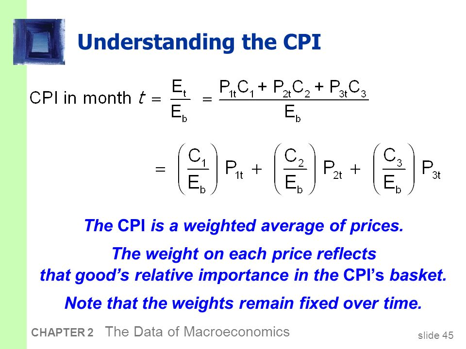 slide 45 CHAPTER 2 The Data of Macroeconomics Understanding the CPI The CPI is a weighted average of prices.