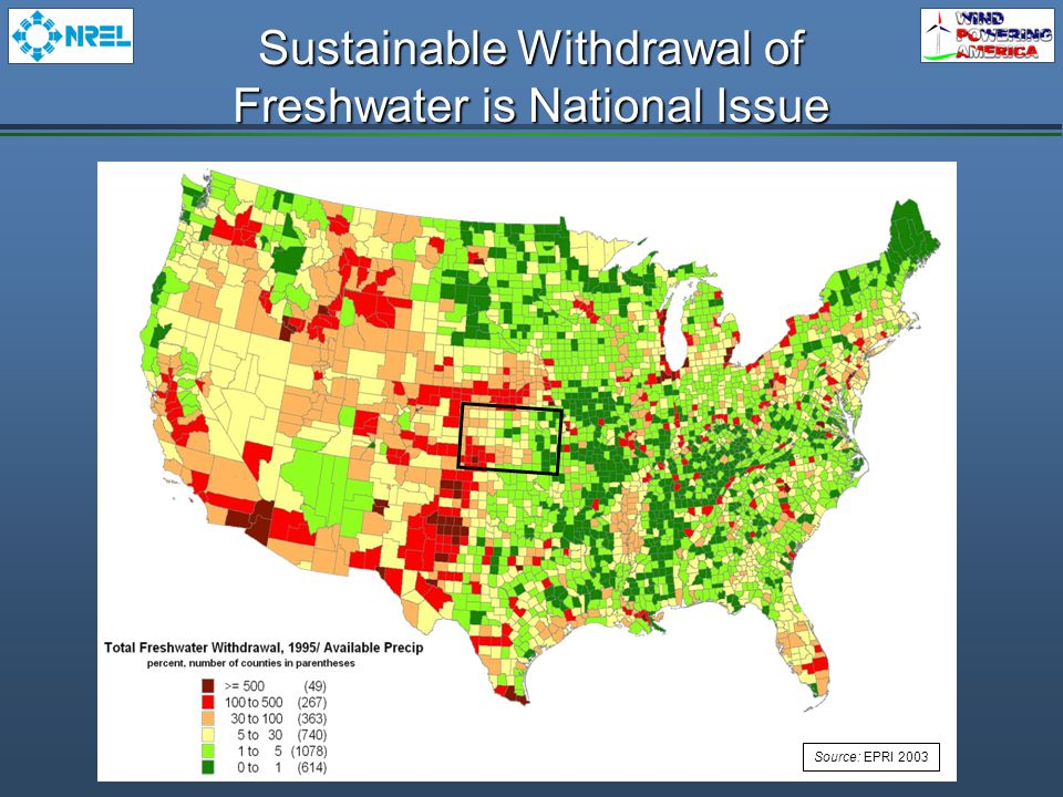 Sustainable Withdrawal of Freshwater is National Issue Source: EPRI 2003