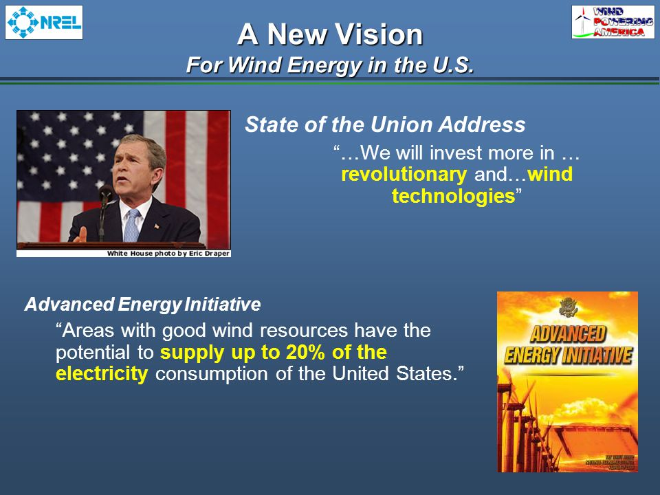 State of the Union Address …We will invest more in … revolutionary and…wind technologies Advanced Energy Initiative Areas with good wind resources have the potential to supply up to 20% of the electricity consumption of the United States. A New Vision For Wind Energy in the U.S.