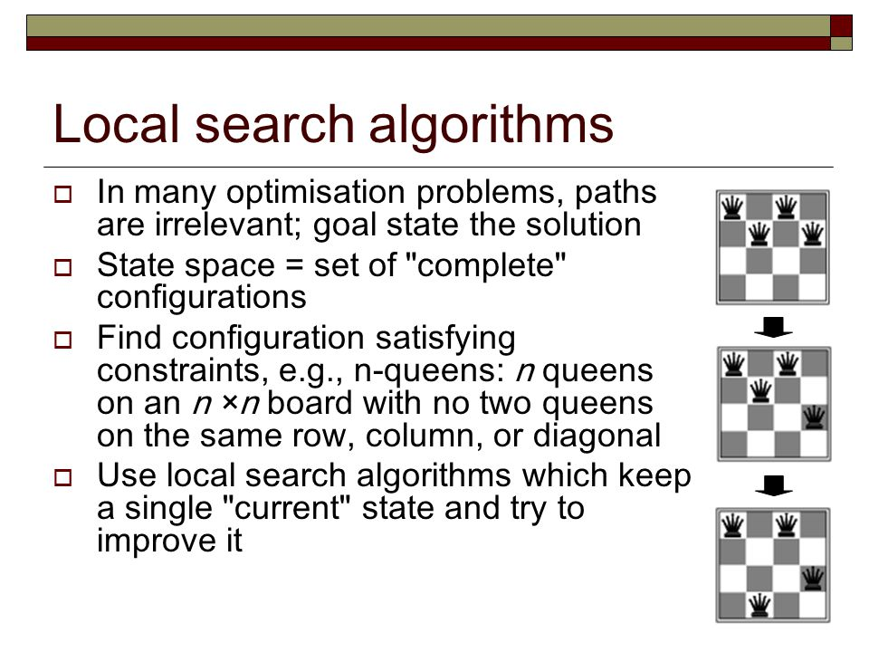 Local search algorithms  In many optimisation problems, paths are irrelevant; goal state the solution  State space = set of complete configurations  Find configuration satisfying constraints, e.g., n-queens: n queens on an n ×n board with no two queens on the same row, column, or diagonal  Use local search algorithms which keep a single current state and try to improve it