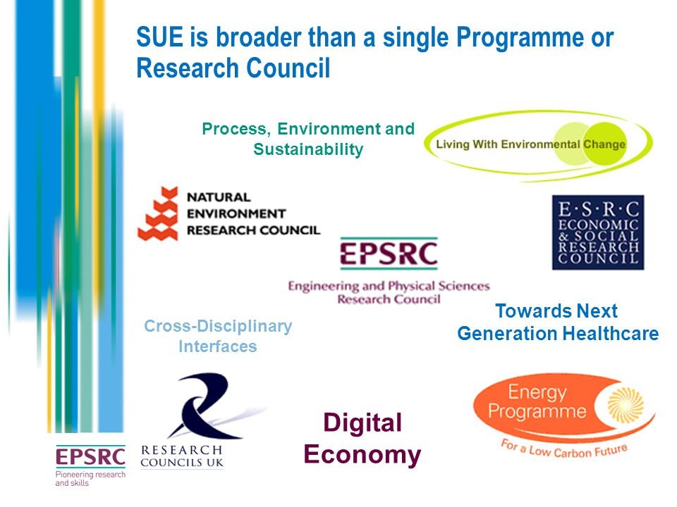 SUE is broader than a single Programme or Research Council Process, Environment and Sustainability Cross-Disciplinary Interfaces Towards Next Generation Healthcare Digital Economy