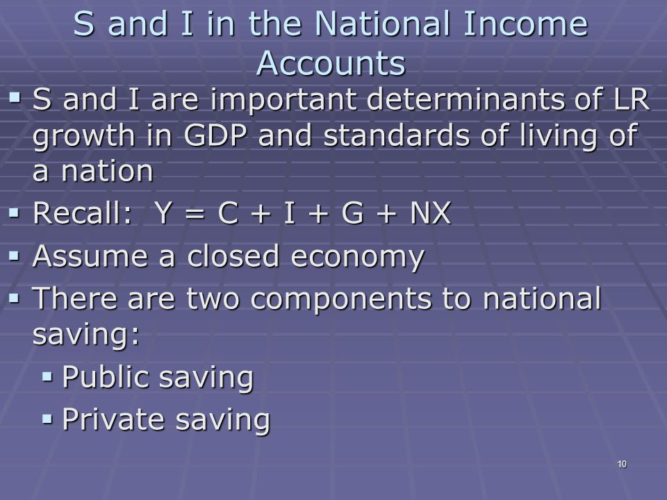 10 S and I in the National Income Accounts  S and I are important determinants of LR growth in GDP and standards of living of a nation  Recall: Y = C + I + G + NX  Assume a closed economy  There are two components to national saving:  Public saving  Private saving