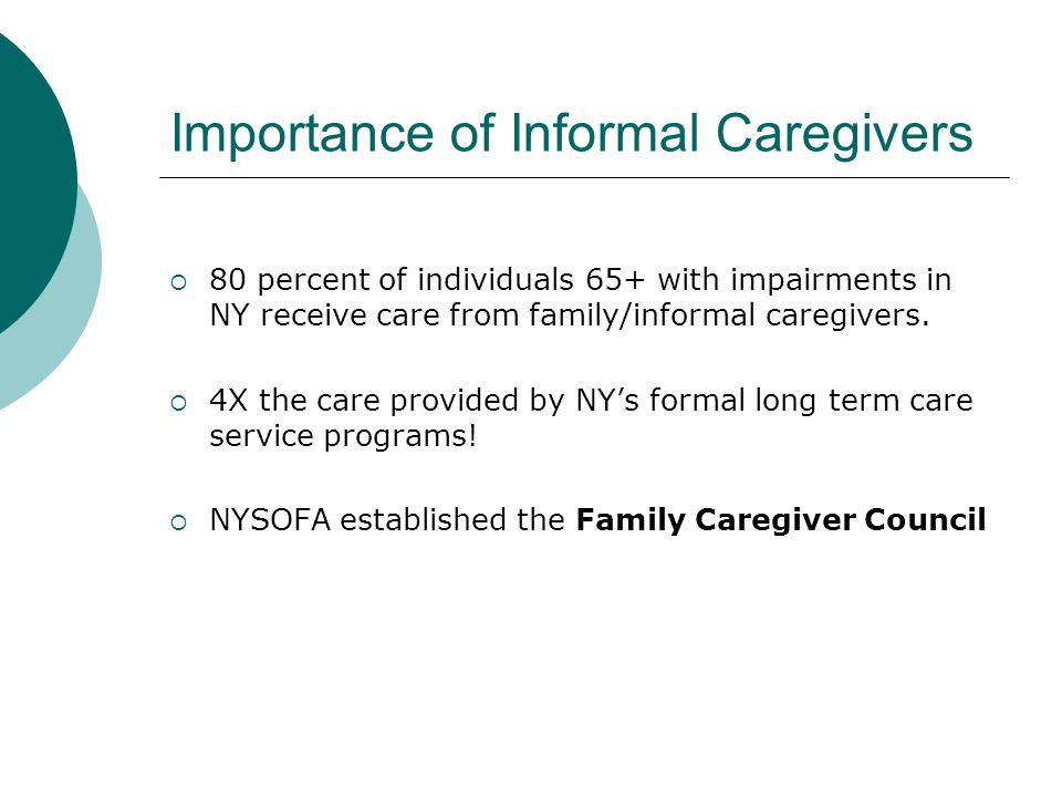 Importance of Informal Caregivers  80 percent of individuals 65+ with impairments in NY receive care from family/informal caregivers.
