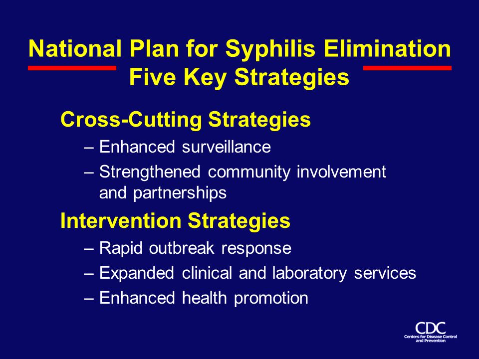 National Plan for Syphilis Elimination Five Key Strategies Cross-Cutting Strategies –Enhanced surveillance –Strengthened community involvement and partnerships Intervention Strategies –Rapid outbreak response –Expanded clinical and laboratory services –Enhanced health promotion