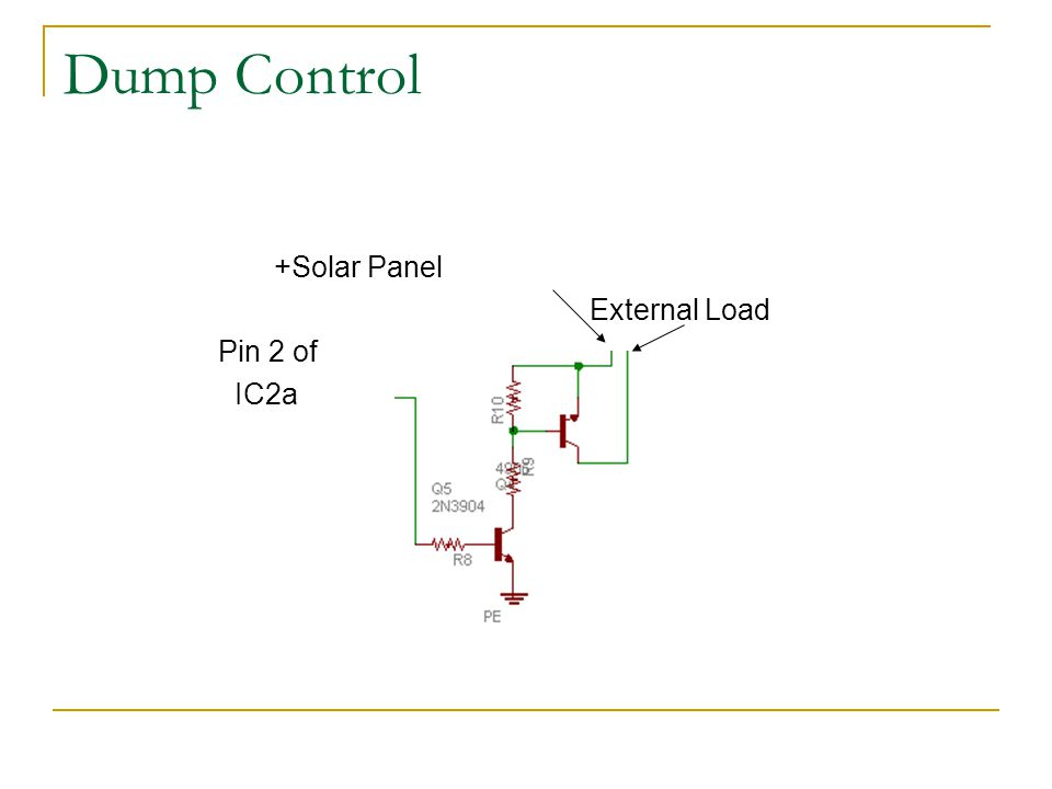 Dump Control +Solar Panel External Load Pin 2 of IC2a